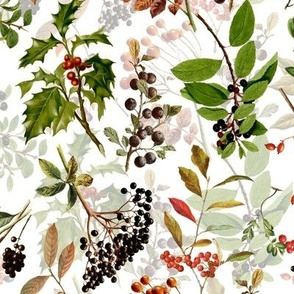 """10"""" vintage botanical wild flowers and berries on white"""
