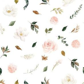 "8"" Magnolia Floral Stems // White"