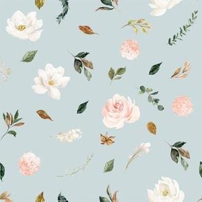 "8"" Magnolia Floral Stems // Geyser Blue"