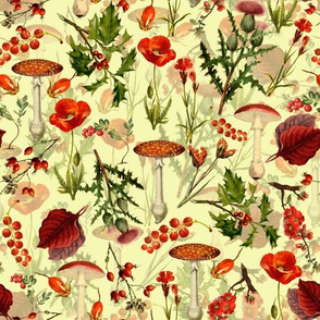 """10"""" vintage botanical wildflowers fungus and berries on yellow"""