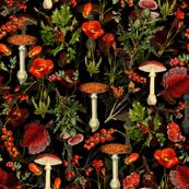 """10"""" vintage botanical wildflowers fungus and berries on black"""
