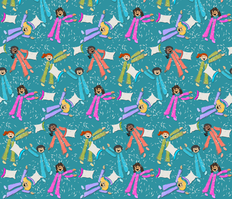 Pajama Party! | Blue-Green fabric by southwind on Spoonflower - custom fabric