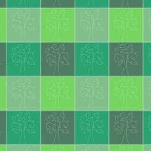 green stitched tree patchwork fabric-ed