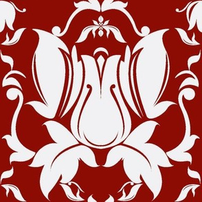 Hollywood Damask Deep Red