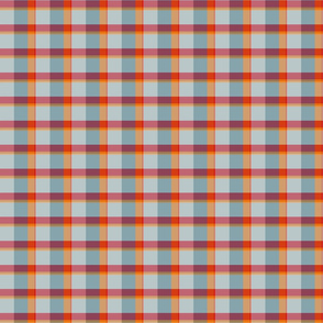 plaid red orange teal