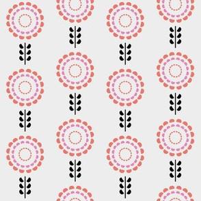 Floral geometric pantone living coral