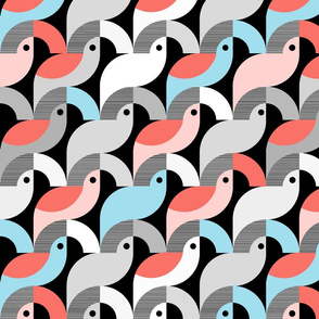 Scandi Birds in Coral Teal and Gray