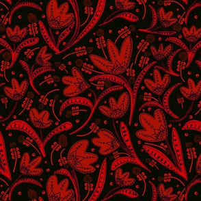 SteamPunk Inspired Red and Black - Tulips with paisley