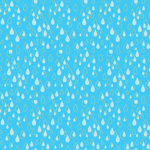 Blue and Gold Raindrops in a medium blue background - Sweet Tweets 22