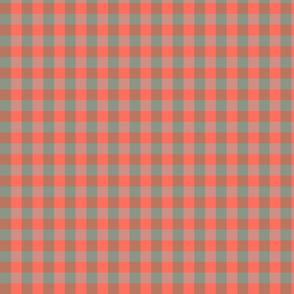 plaid-coral sage grey