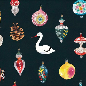 retro watercolor christmas ornaments