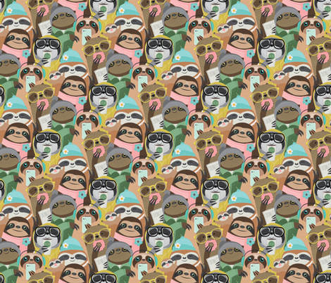 sloth repeat small fabric by michaelzindell on Spoonflower - custom fabric