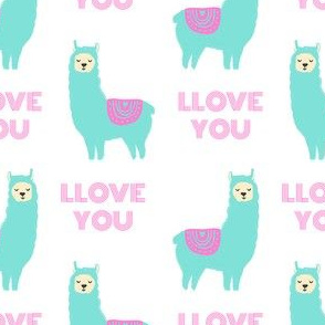 llove llama valentines day fabric - love llama fabric, valentines day fabric, cute girls valentines day design -  mint