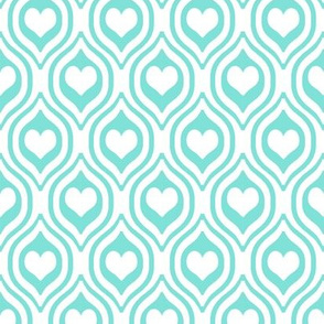 valentines day heart ogee pattern fabric - red and pink valentines day fabric, valentines fabric, ogee fabric, hearts fabric -  candy mint