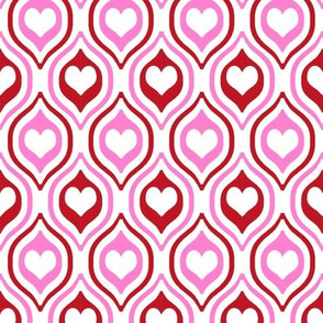 valentines day heart ogee pattern fabric - red and pink valentines day fabric, valentines fabric, ogee fabric, hearts fabric - red and pink