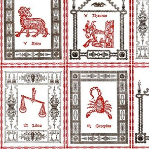 Zodiac Woodcuts Red