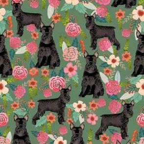 schnauzer dog floral fabric, giant schnauzer fabric, black schnauzer fabric, dog fabric, floral dogs fabric -  green