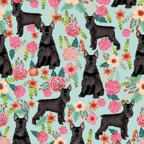 schnauzer dog floral fabric, giant schnauzer fabric, black schnauzer fabric, dog fabric, floral dogs fabric - light