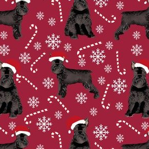 schnauzer dog christmas fabric - santa paws, black schnauzer, giant schnauzer fabric - cute dog, dogs, pet dog fabric - deep red