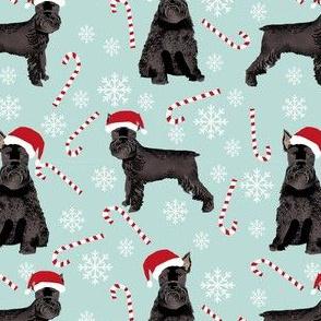 schnauzer dog christmas fabric - santa paws, black schnauzer, giant schnauzer fabric - cute dog, dogs, pet dog fabric - blue