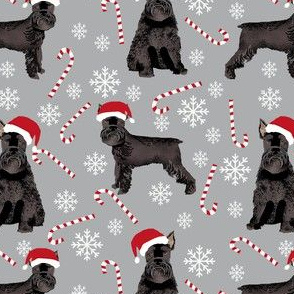schnauzer dog christmas fabric - santa paws, black schnauzer, giant schnauzer fabric - cute dog, dogs, pet dog fabric - grey