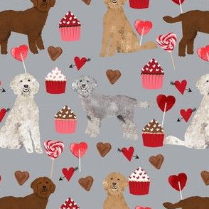 golden doodle dog valentines day fabric - golden doodles, doodle dogs, dogs, hearts, pink and red, cupcakes and chocolate -  grey