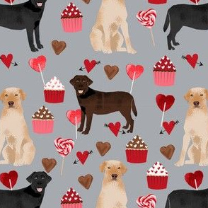 labrador dog valentines day fabric - chocolate lab dog, black lab dog, yellow lab dog, dogs, hearts, pink and red, cupcakes and chocolate - grey