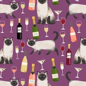 siamese cat wine fabric - cute cat fabric, wine fabric, cat fabric, siamese cats fabric - purple