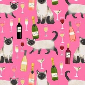 siamese cat wine fabric - cute cat fabric, wine fabric, cat fabric, siamese cats fabric - pink