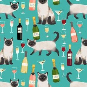 siamese cat wine fabric - cute cat fabric, wine fabric, cat fabric, siamese cats fabric - turquoise