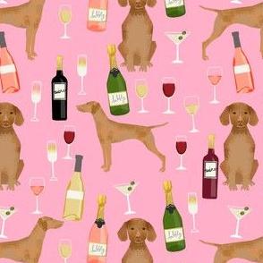 vizsla dog wine fabric - dog fabric, dog breeds fabric, dog wine fabric, wine fabric -pink