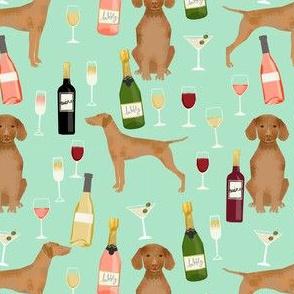 vizsla dog wine fabric - dog fabric, dog breeds fabric, dog wine fabric, wine fabric - mint