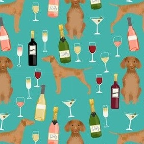 vizsla dog wine fabric - dog fabric, dog breeds fabric, dog wine fabric, wine fabric - turquoise