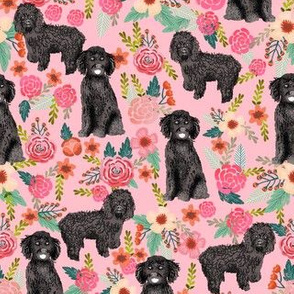 cockapoo floral fabric - black cockapoo dog, dog fabric, dog breeds fabric, dog floral fabric, cockapoo fabric - pink