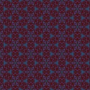 geometric flowers -  blue brown