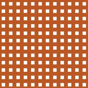 Square Grid Plaid // Burnt Orange & White