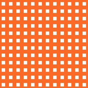 Square Grid Plaid // Orange & White