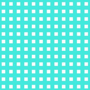 Square Grid Plaid // Turquoise & White