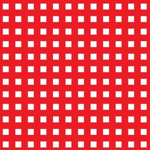 Square Grid Plaid // Red & White