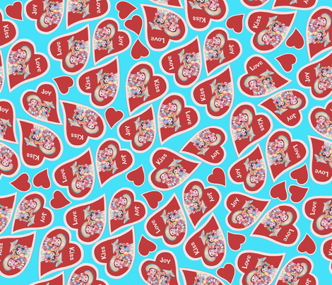 Joy.Kiss.Love.TalaveraTwins fabric by kandyceartstudio on Spoonflower - custom fabric