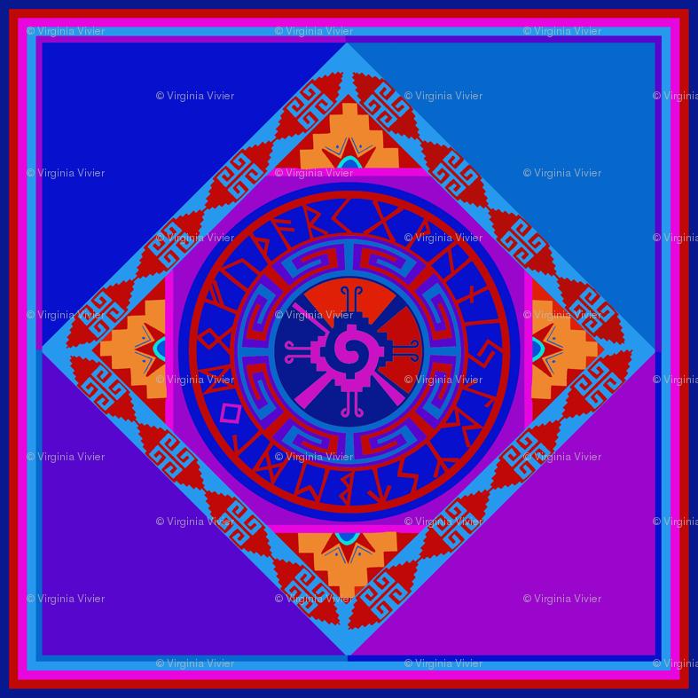 Mayan Hunab Ku Celestial Symbol with Rune Solar Calendar wallpaper