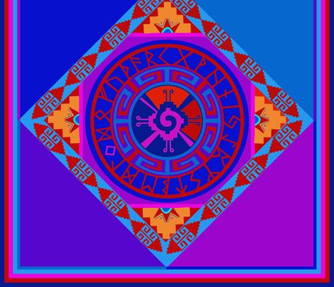 Mayan Hunab Ku Celestial Symbol with Rune Solar Calendar fabric by vagabond_folk_art on Spoonflower - custom fabric