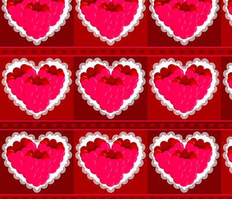 Raspberry Sweet Hearts  fabric by kae50 on Spoonflower - custom fabric