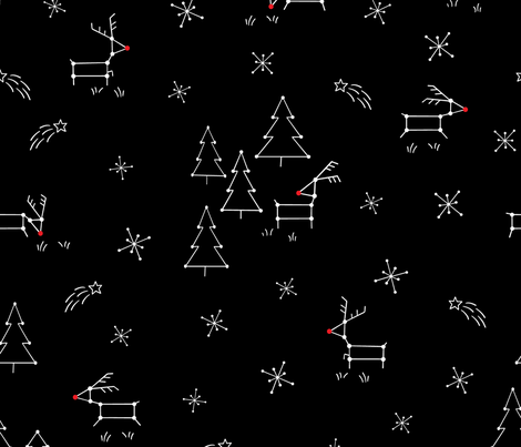 Red Nose Reindeer Constellations fabric by dk_ryland on Spoonflower - custom fabric