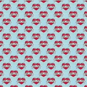 (micro scale) mom heart tattoo - red on blue stripes C18BS