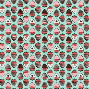 (micro scale) chocolate covered strawberries - aqua C18BS