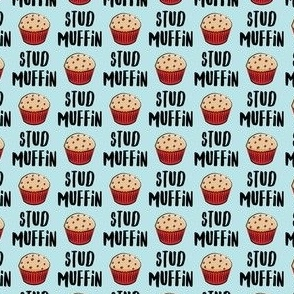 "(3/4"" scale) Stud muffin - valentines day - muffins on blue C18BS"