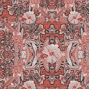 Victorian Oleander Art Nouveau Pattern in Coral & Gray