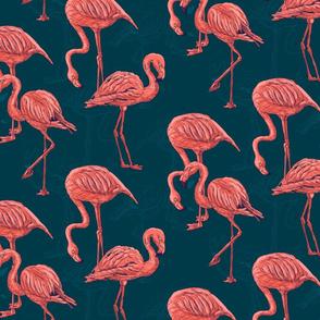 Living coral flamingo pattern