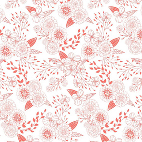 Doodle flowers in living coral